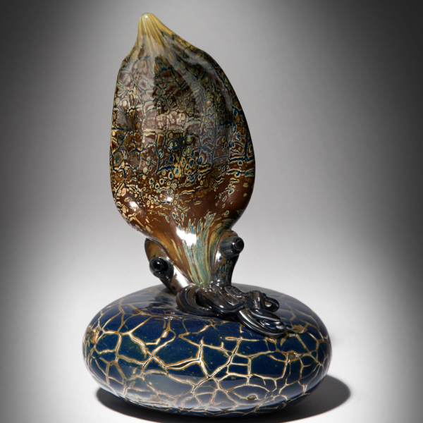 Brown Cuttlefish on Tobacco Blue/Brown Crackled Coral by Lee Harris Studios
