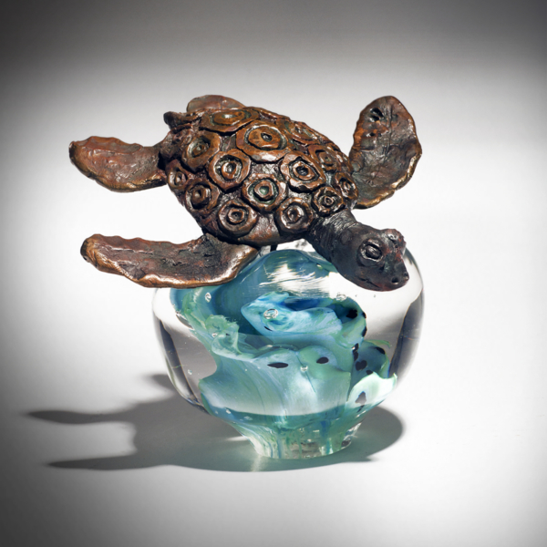 Brown Turtle on Blue/Green by Lee Harris Studios