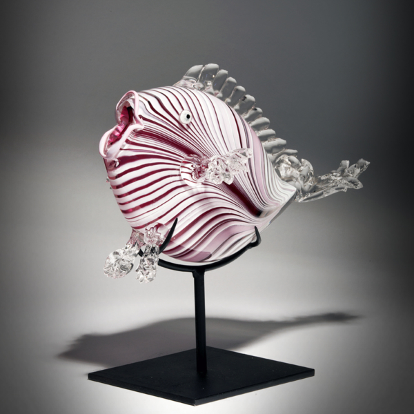 Transparent Red with White Feather Pull Angelfish by Lee Harris Studios